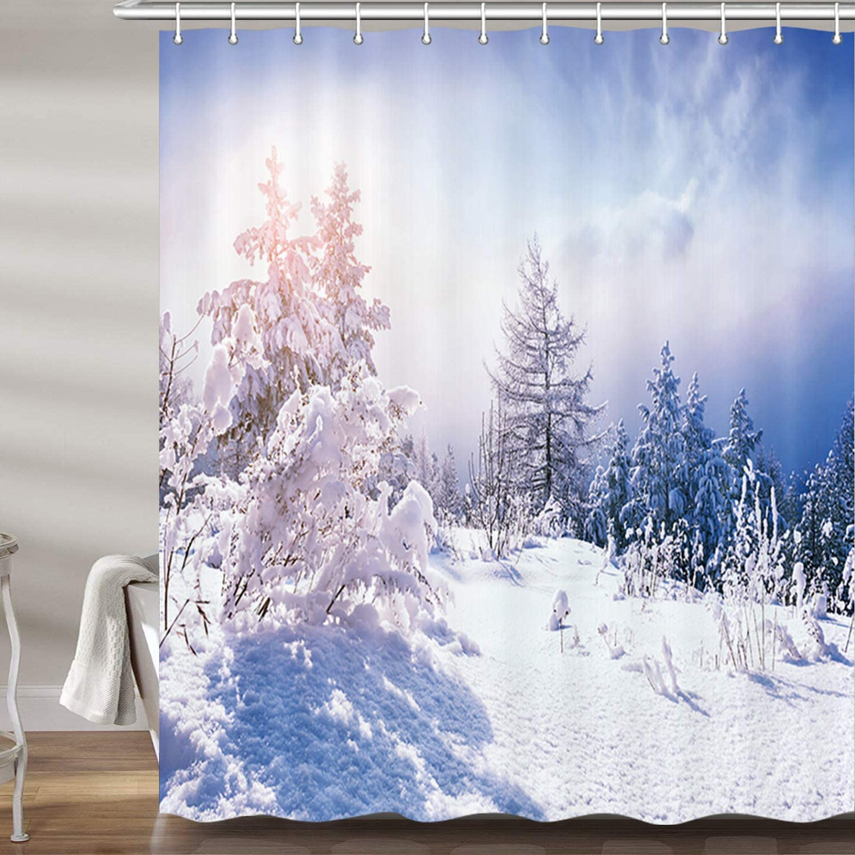 Tree Forest in Sunset Big Sky Nature Fabric Shower Curtain Digital Art Bathroom