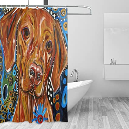 Image Unavailable Not Available For Color LORVIES Painting Dog Print Shower Curtain