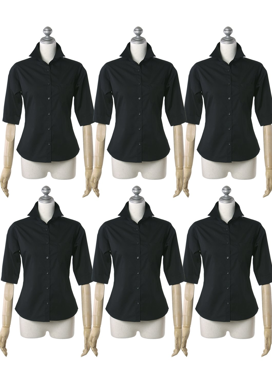 CorLeonis(コルレオニス) お手入れ簡単で動きやすい シャツブラウス (アクティブスリーブ) 5分袖/半袖 長め B072HD73FZ L5 ブラック6枚セット ブラック6枚セット L5