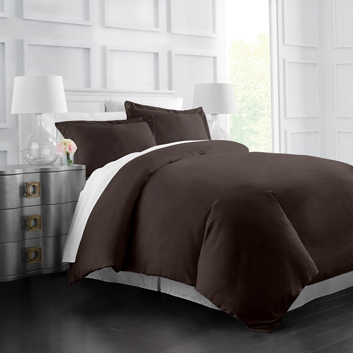 Egyptian Luxury Soft Brushed 1500 Series Microfiber Duvet Cover Set - Hotel Quality & Hypoallergenic with Zippered Closure & Matching Shams -Twin/TwinXL - Black Italian Luxury RG-IL1500DVT-T/TXL-BLK