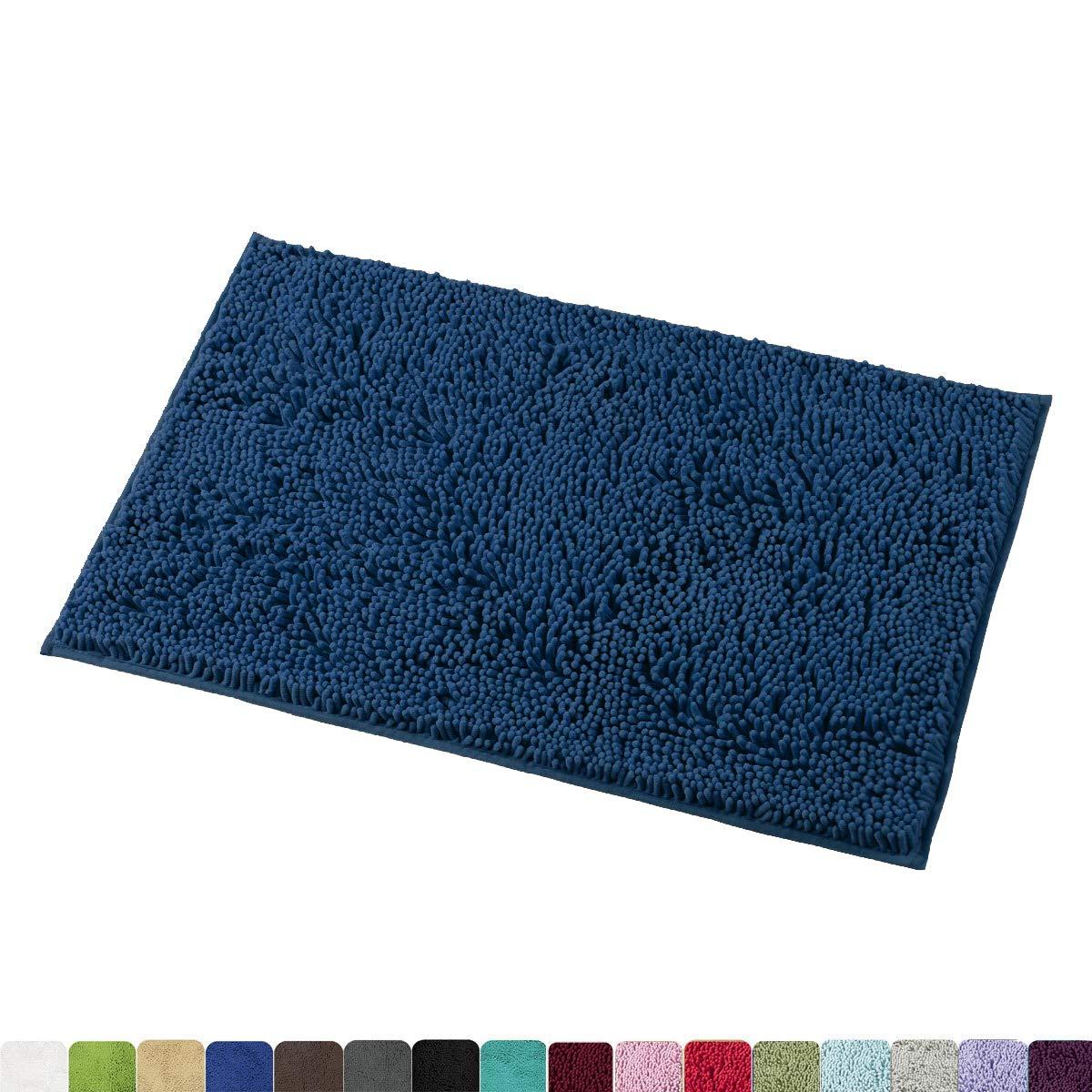 MAYSHINE 20x32 Inches Non-Slip Bathroom Rug Shag Shower Mat Machine-Washable Bath Mats with Water Absorbent Soft Microfibers of - Dark Blue