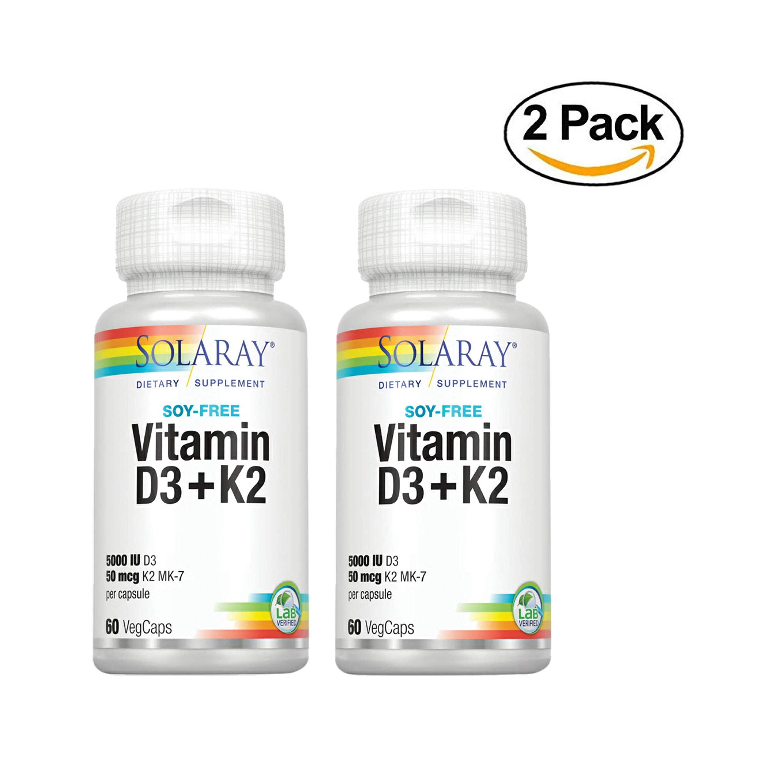 Solaray® Vitamin D3 + K2   D & K Vitamins for Calcium Absorption and Support for Healthy Cardiovascular System & Arteries   Non-GMO & Soy-Free   60 Ct   2 pk
