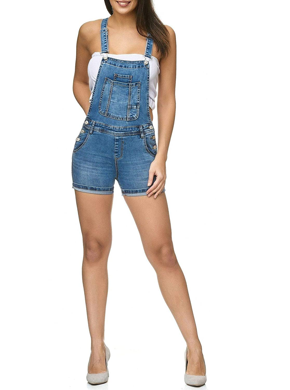 Damen Latz Shorts Latz Shorts Kurze Latzhose Hot Pants Skinny D2250