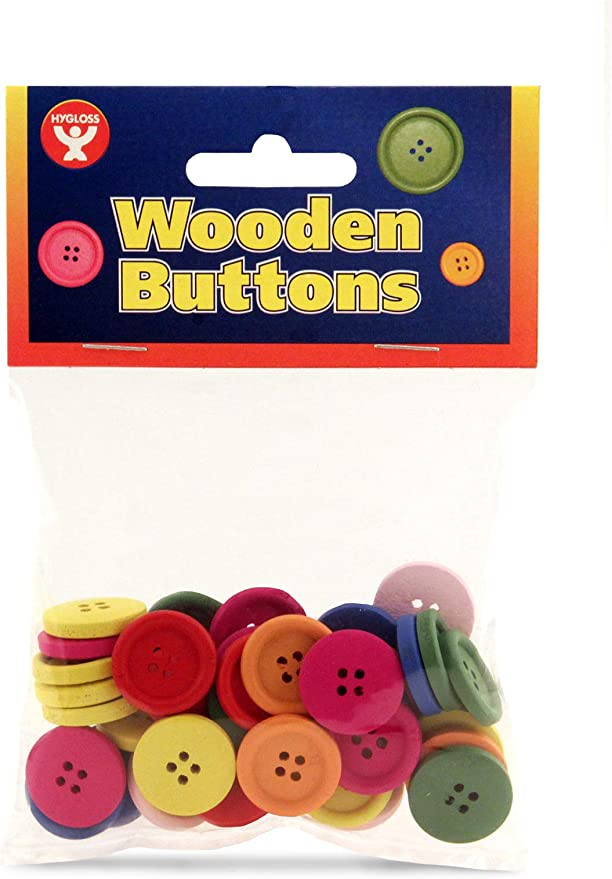 Mixed Pack of Colours 21 x 17mm. 10 Brightly Coloured Wooden Owl Buttons
