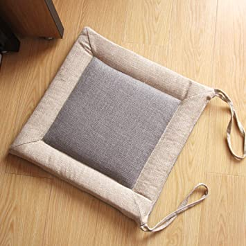 Square Dining Chair Pads, Kitchen Chair Cushion with Ties Linen Seat  Cushion Thick Cushion for Indoor Office Home Decor-Gray 45x45cm(18x18inch)