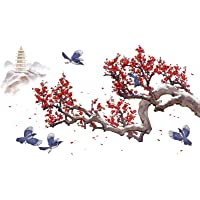 Red Flower Wall Decals Bird and Tree Wall Stickers Removable Peel and Stick Art Murals for Kids Room Living Room Bedroom…