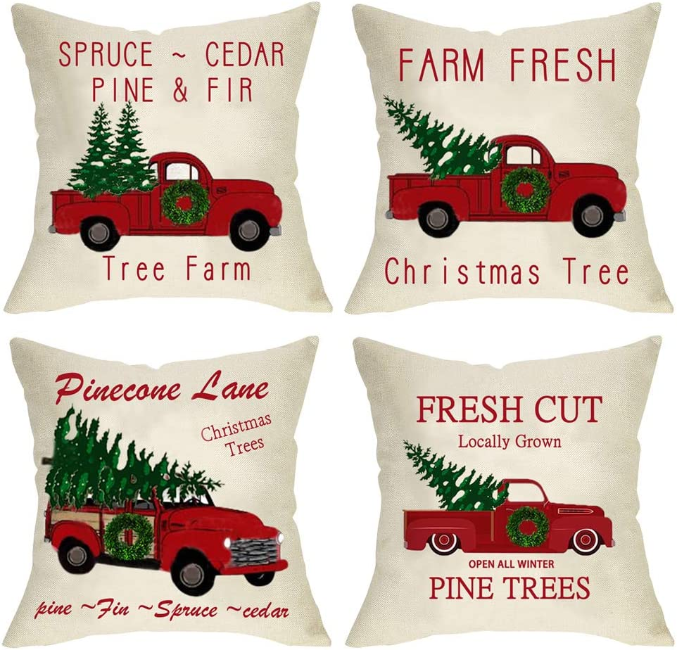 "Ussap 4 Pack Christmas Tree Farm Vintage Red Truck Winter Holiday Decoration Merry Xmas Farmhouse Decorative Throw Pillow Cover Cushion Case for Sofa Couch Home Decor Cotton Linen 18"" x 18"""