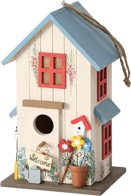 CasaJame Pajarera de madera, multicolor y azul, para jardín, nido, casa para pájaros, pajarera, decoración de balcón, 15 x 13 x 26 cm: Amazon.es: Productos para mascotas