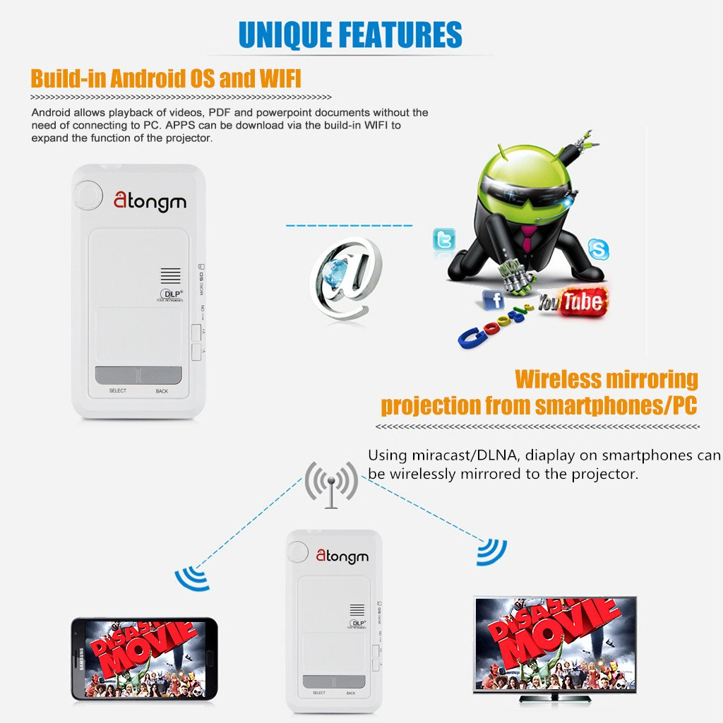 Atongm D9 Mini proyector de vídeo portátil Wi-Fi (para Android 4.2 Dual Core, DLP, luz LED, 1200 lúmenes, WVGA 854 x 480, para HDMI/AV/VGA/OTG/SD/USB), ...