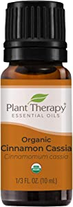 Plant Therapy USDA Certified Organic Cinnamon Cassia Essential Oil 10 mL (1/3 oz) 100% Pure, Undiluted, Therapeutic Grade