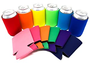 TahoeBay 12 Can Sleeves - Multi Color Beer Coolies for Cans and Bottles - Bulk Blank Drink Coolers – DIY Custom Wedding Favor, Funny Party Gift (Mutlicolor, 12)