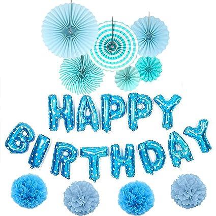Happy Birthday Balloons Banner 3D Blue Lettering Aluminum Foil Letter Banners Tissue Flowers