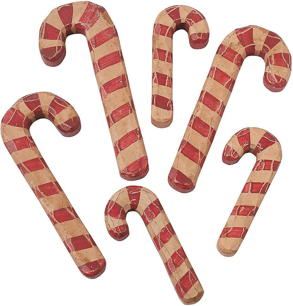 Candy Cane Wooden craft shapes x 15