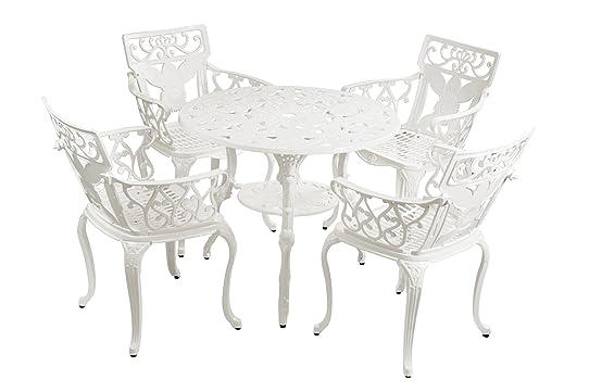 Ensemble Meubles de Jardin Versailles Blanc en Fonte d\'Aluminium ...
