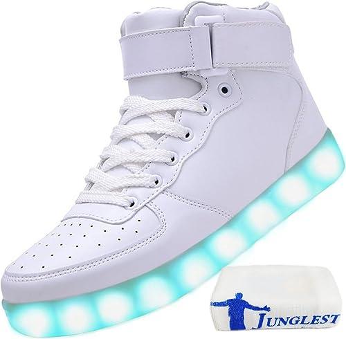 (Presente:Pequeña Toalla) JUNGLEST® 7 Colors USB Carga LED Luz Luminosas Flashing Sneakers Altotop Zapatos Zapatillas de Deporte para Unisex Hombres Mujeres ...