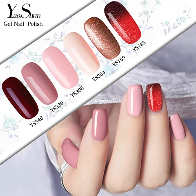 Y & S Kit de manicura con laca de uñas permanente de gel en 6 colores distintos y lámpara UV de LED 10 ml: Amazon.es: Belleza