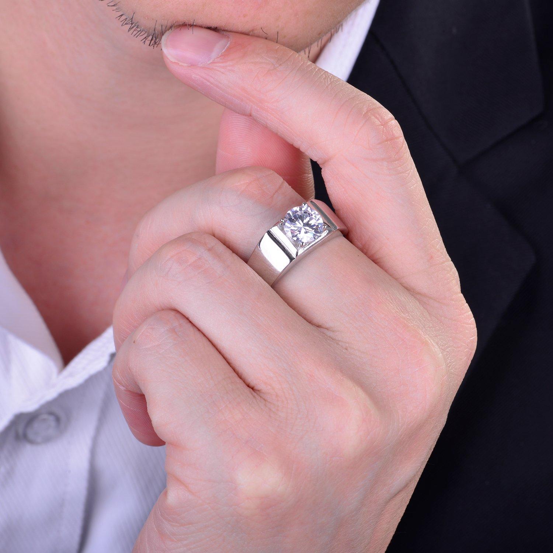 JiangXin Men Ring 925 Sterling Silver Halo CZ Adjustable Size Gentry ...