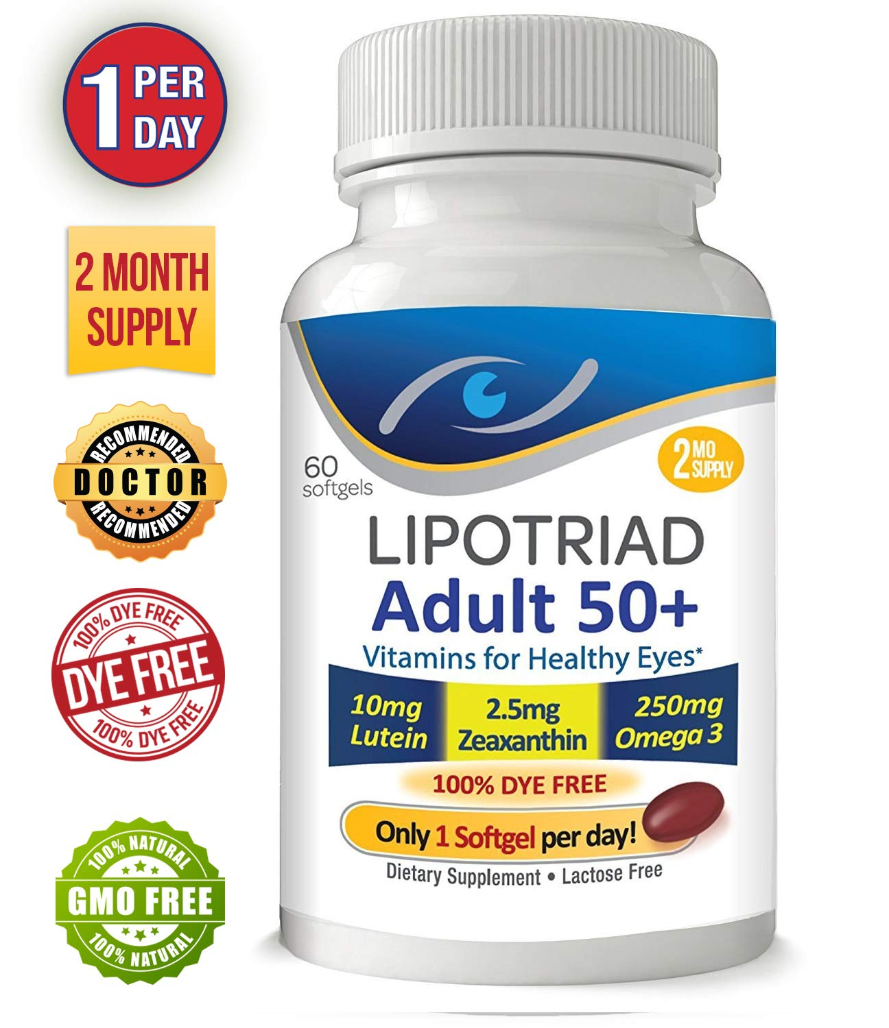 Lipotriad Adult 50+ Eye Vitamin and Mineral Supplement - ONE Per Day Eye Vitamin w/10mg Lutein, Zeaxanthin, Omega 3, Vitamin C, E, Zinc Copper - 2mo Supply, 60 Softgels by Lipotriad
