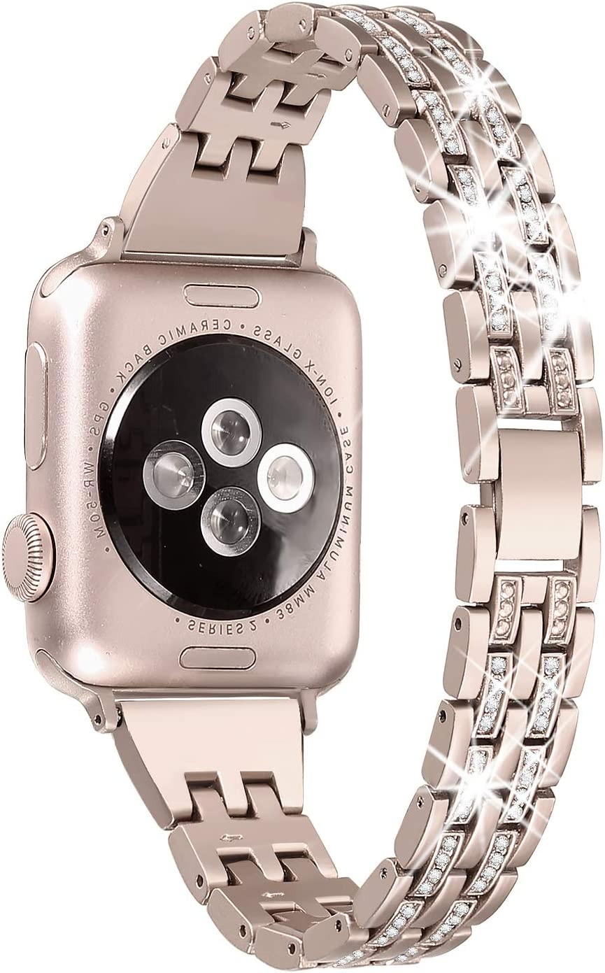 Secbolt Bling Bands Compatible Apple Watch Band 38mm 40mm Women iWatch Series 6 5 4 3 2 1 SE, Dressy Jewelry Metal Wristband Strap Diamond Rhinestone, Champagne Gold