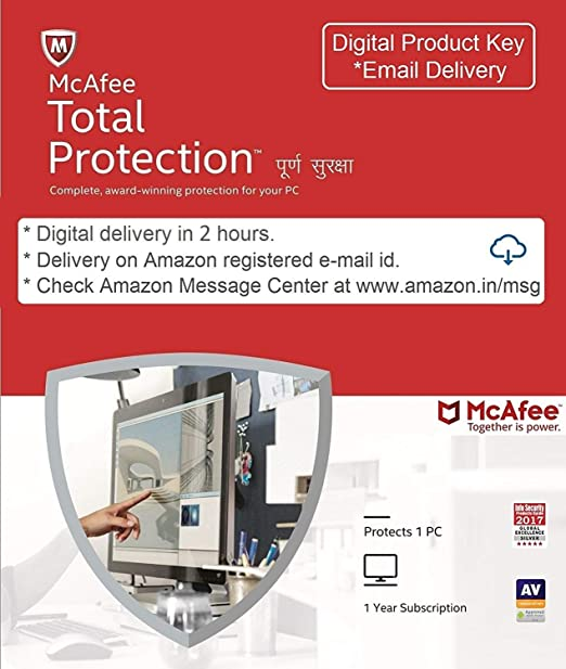 McAfee Total Protection- 1 User, 1 Year (Email Delivery in 2 hours-