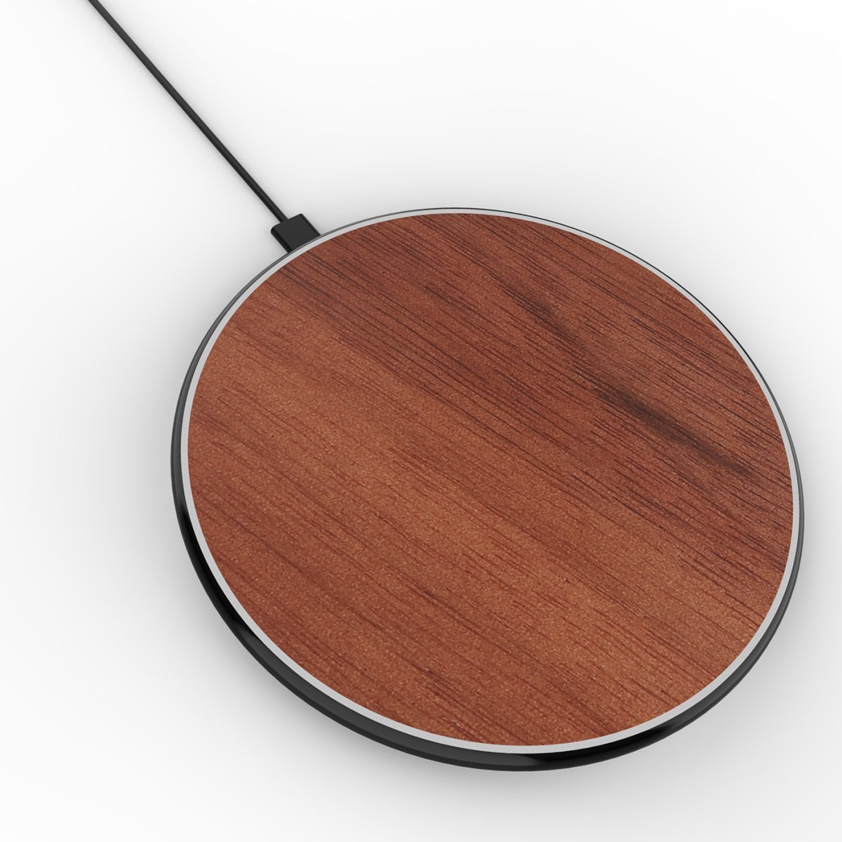 Fast Wireless Chargers, HAISSKY Ultra-Thin Wood Qi Wireless Charging Pad for iPhone 8/ 8 Plus, Samsung Galaxy S6 Edge S6 Edge Plus S7 Edge Note 8 Note 5 Nokia 920 950/xl and All Qi-Enabled Devices (Brown)