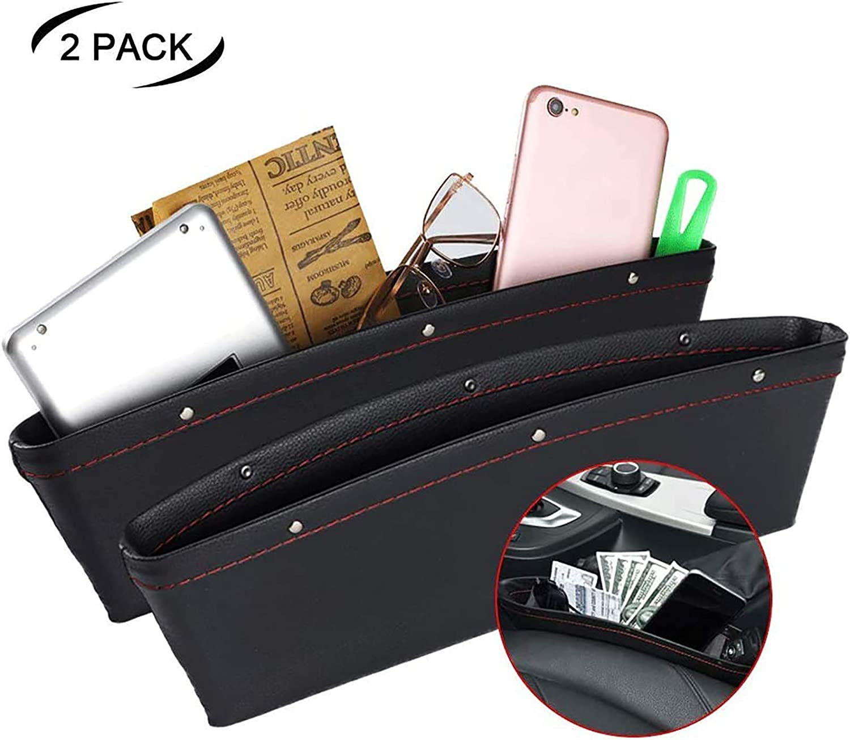 JYSW Car Gap Filler, 2 Pack Leather Car Seat Organizer Gap Pocket Car Seat Storage Box for Holding Phone, Sunglasses, Keys, Black: Automotive