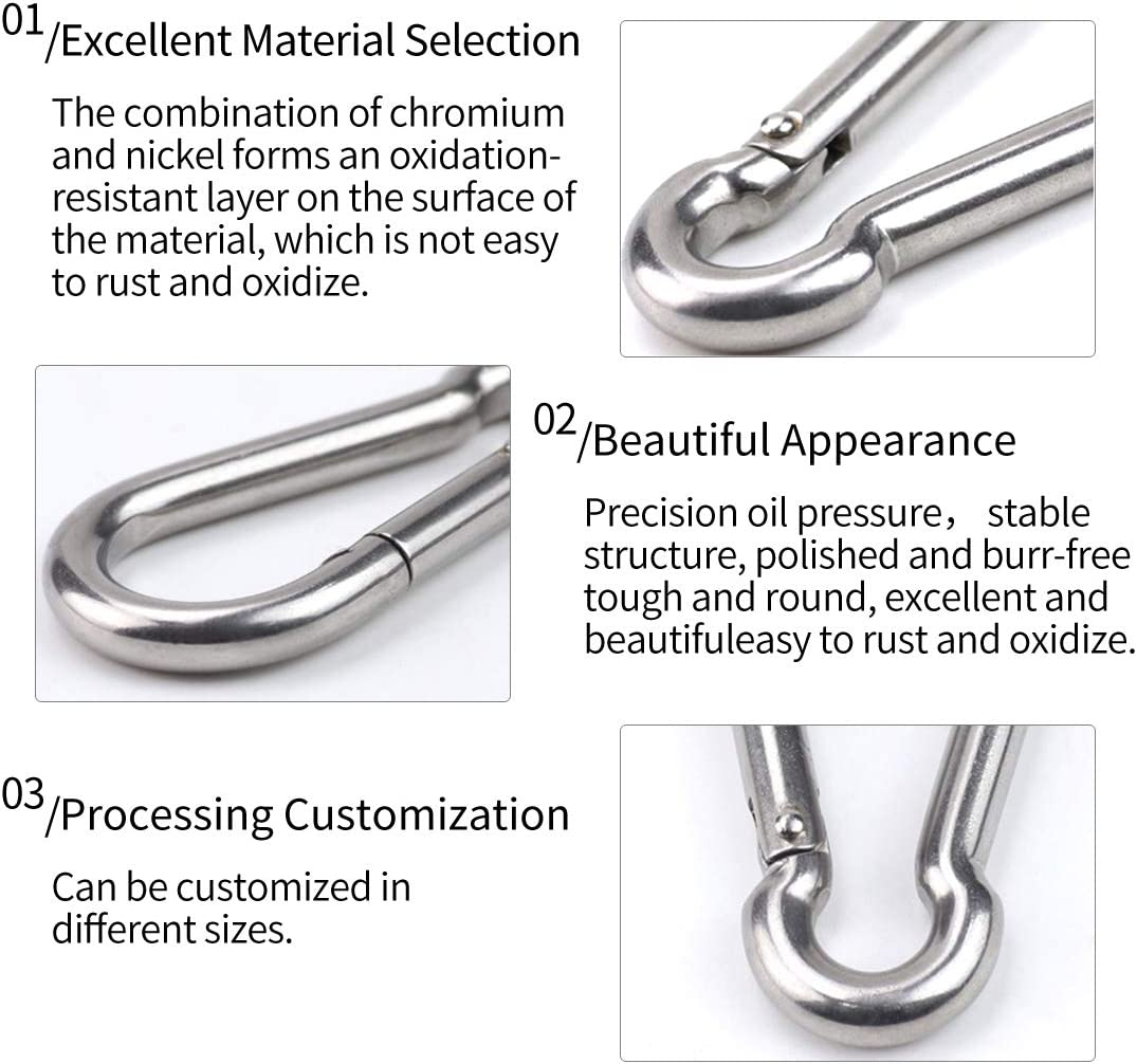 YIOVVOM 304 Stainless Steel Spring Snap Hook Carabiner for Camping Climbing Fishing Hiking 2.7inch 5PCS