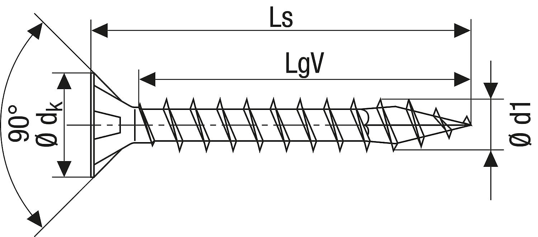 4x40mm blank verzinkt Spax 0//1049//001//4,0//40// //01 Tornillo para Yeso