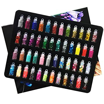 Imustech Nail Art Decoration 48 Cols 3d Nail Art Kit Glitter Mixed