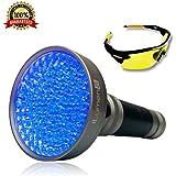 Extra Bright- UV Black Light Flashlight by iLumen8, 100 LED (Latest Super High-Flux) Blacklight. Powerful 35ft beam detect Pet Urine, Scorpions, Human fluids bed bugs mold. Bonus UV Safety Glasses
