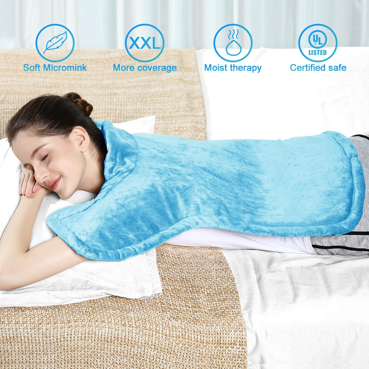 REVIX XXL Long Heating Pad for Full Back, Neck and Shoulders Pain Relief, 24 * 29'' Extra Large Moist Electric Heat Pads with Auto-Off, Fast-Heating and Elastic Strap, UL Listed, Sky Blue by REVIX
