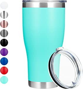MANYHY 30 oz Stainless Steel Tumbler Insulated Vacuum Thermal Coffee Cup with Lid Double Wall Travel Mug Large Water Bottle for Home, Office, School, Cold Ice Drink, Hot Beverage (Mint Green, 1 Pack)