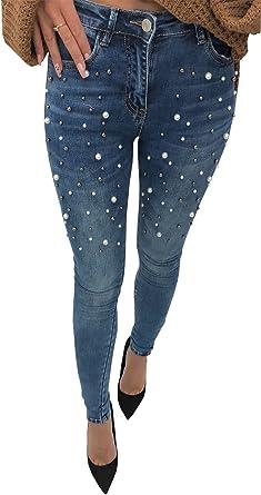 Loalirando Mujer Pantalones De Mezclilla Elasticos Vaqueros Cintura Alta Jeans Ajustados De Mujer Con Perlas Amazon Es Ropa Y Accesorios