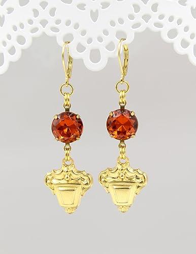 dd3a4682ee92 Amazon.com  Round Dark Orange and Gold Tone Brass Dangle   Drop ...