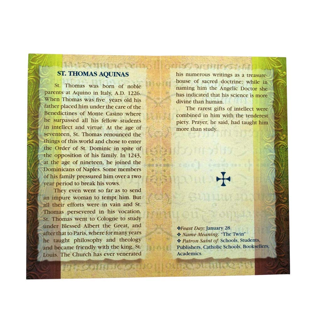 William J  Hirten Deluxe Catholic Holy Card with Traditional Prayers (Saint  Thomas Aquinas)