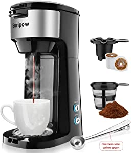 Single Serve K Cup Coffee Maker for K-Cup Pod & Ground Coffee, Small Coffee Maker,Compact Design Thermal Drip Instant Coffee Machine Brewer, 2 in 1 Strength Control and Self Cleaning Function