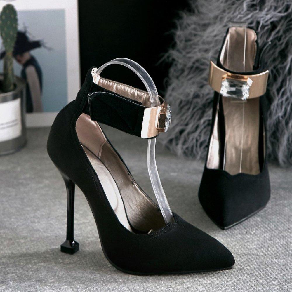 Damen Damen High Heel Stiletto Strass Knöchelriemen Schnalle Wies Wies Wies Hof Schuhe Pumps Sandalen schwarz 8c05aa