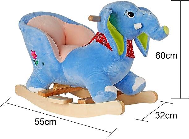Labebe Cheval /à Bascule Enfant Jouet /à Bascule B/éb/é//Cheval /à Bascule B/éb/éExt/érieur 6-36 Mois Blue Dinosaur Jeu /à Bascule Bois pour Petits Enfants