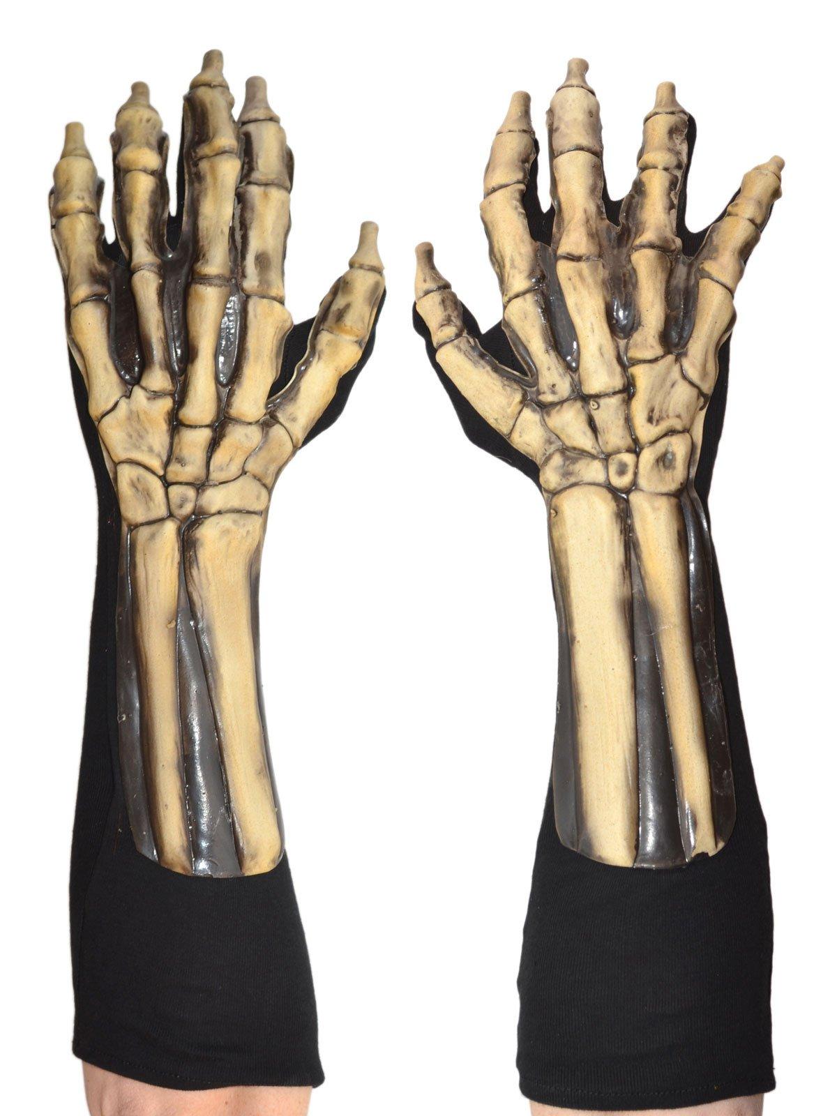 Zagone Skeleton Gloves, White Bones, Black Cotton Gloves