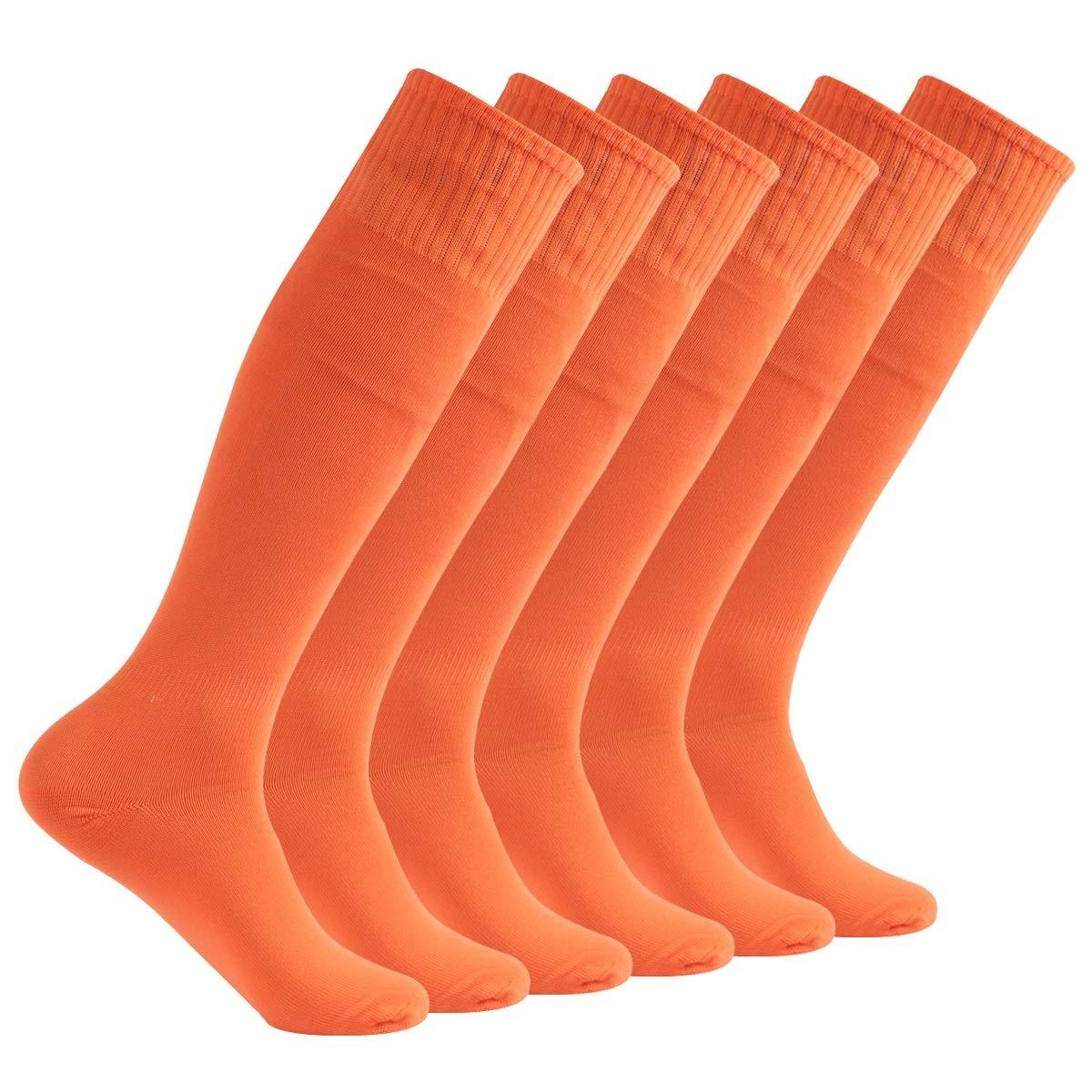Feelingway Orange Tube Socks, Unsiex Knee High Athletic Soccer socks Sports Meeting Team Socks 6 Pairs Orange by Atrest