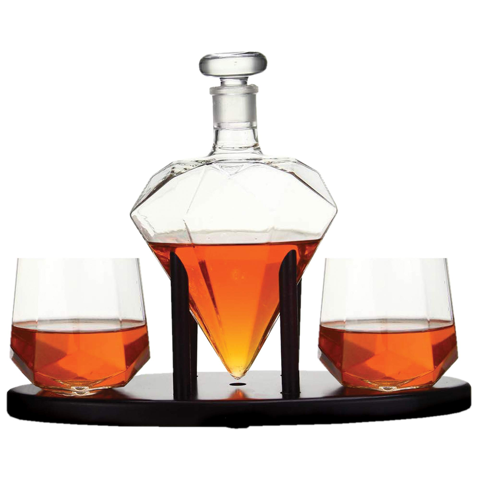Whiskey Decanter Diamond shaped With 2 Diamond Glasses & Mahogany Wooden Holder - Elegant Handcrafted Crafted Glass Decanter For Liquor, Scotch, Rum, Bourbon, Vodka, Tequila - Great Gift Idea - 750ml by RUGLUSH (Image #7)