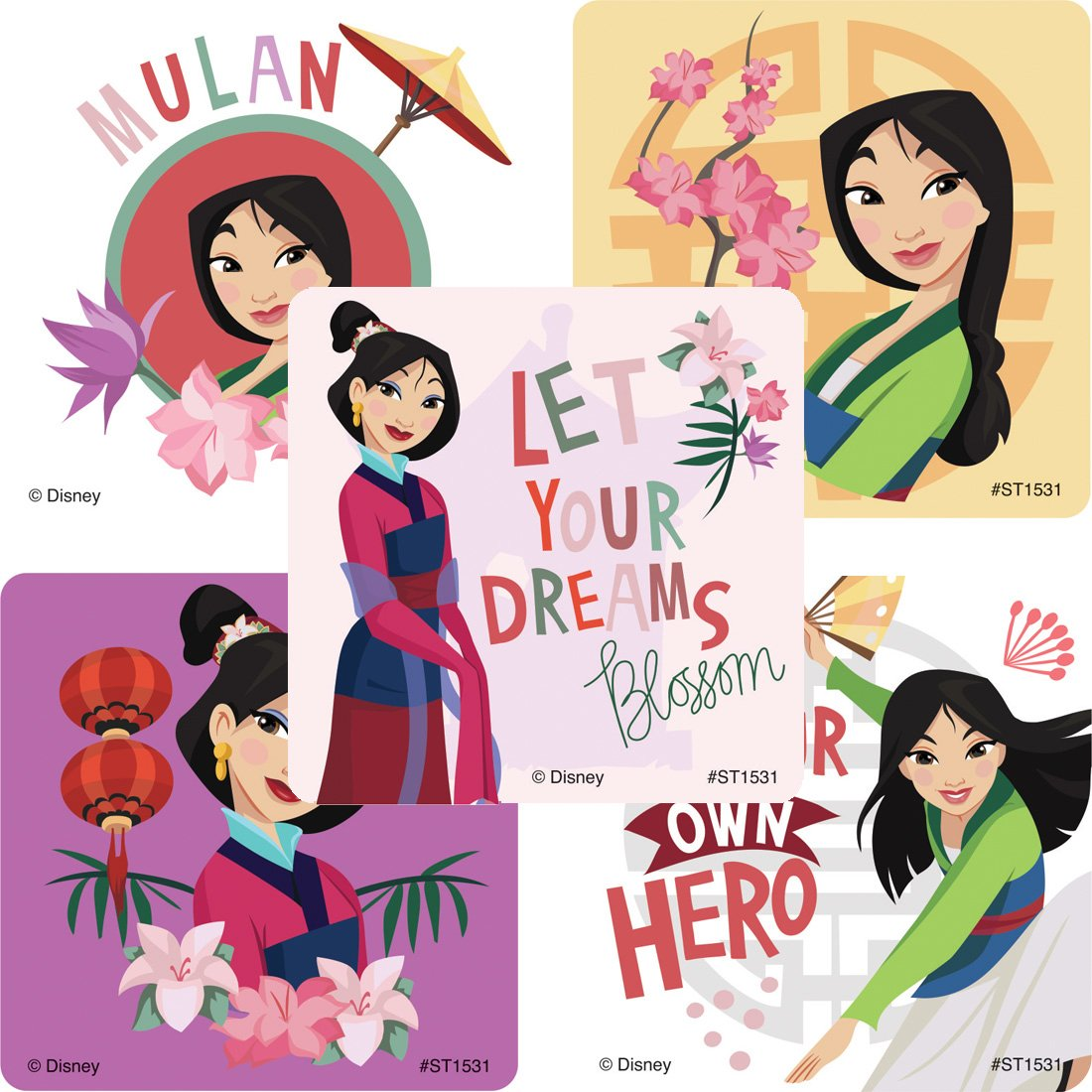 SmileMakers Mulan Stickers Prizes 100 per Pack SmileMakers Inc