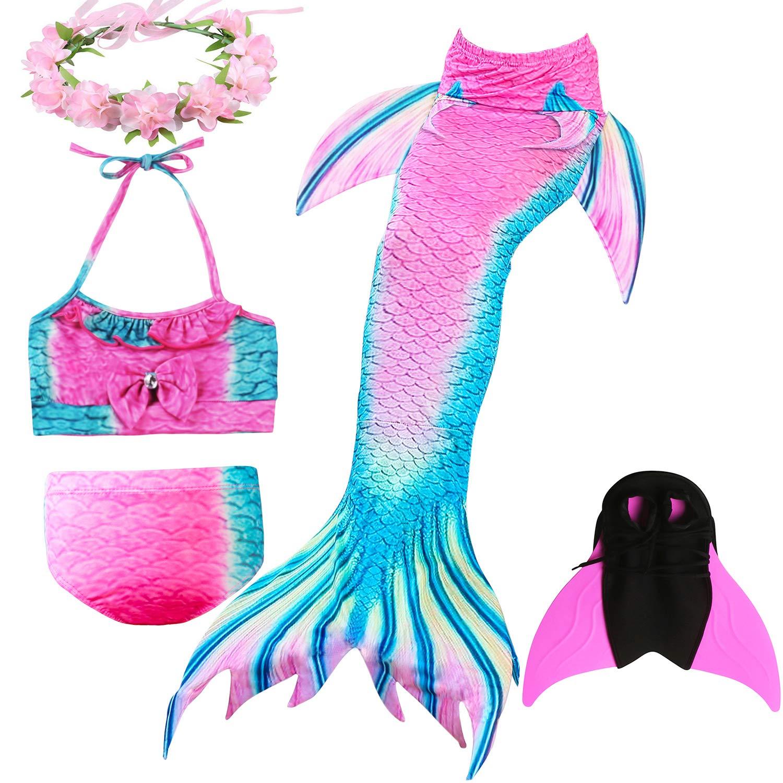 4 St/ück Set DECOOL M/ädchen Meerjungfrau Schwanz Badeanzug Prinzessin Cosplay Bademode f/ür das Schwimmen mit Bikini Set und Monoflosse