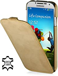 StilGut - Custodia esclusiva in pelle ultra sottile per Samsung Galaxy S4 i9500 e i9505, Sabbia