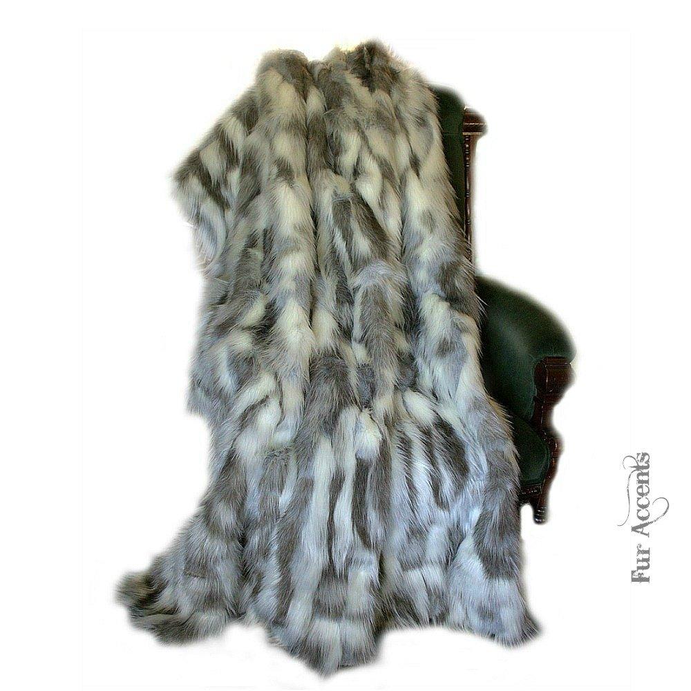 チベットFox – プレミアム品質グレーフェイクファー – Designer Throw Blanket – ソフトMinky Cuddleファー裏地) 4'x5' グレー 4X5GTibFxTB B01DT3K2IE  4'x5'