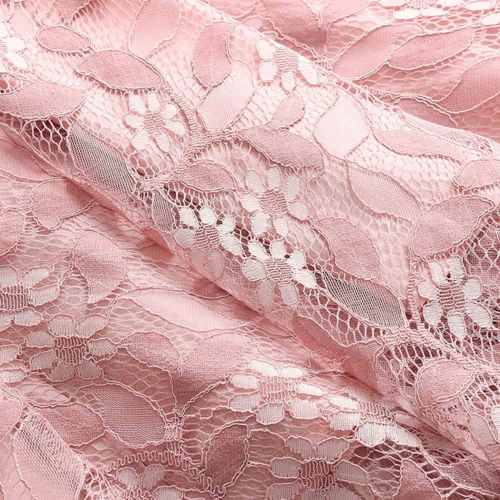 Women's Sexy Lace Floral Dress Vintage Princess Cocktail Neckline Party A-line Swing Dress Pink