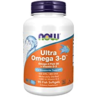 NOW Supplements, Ultra Omega 3-D™, Omega-3 Fish Oil + Vitamin D-3, Cardiovascular...