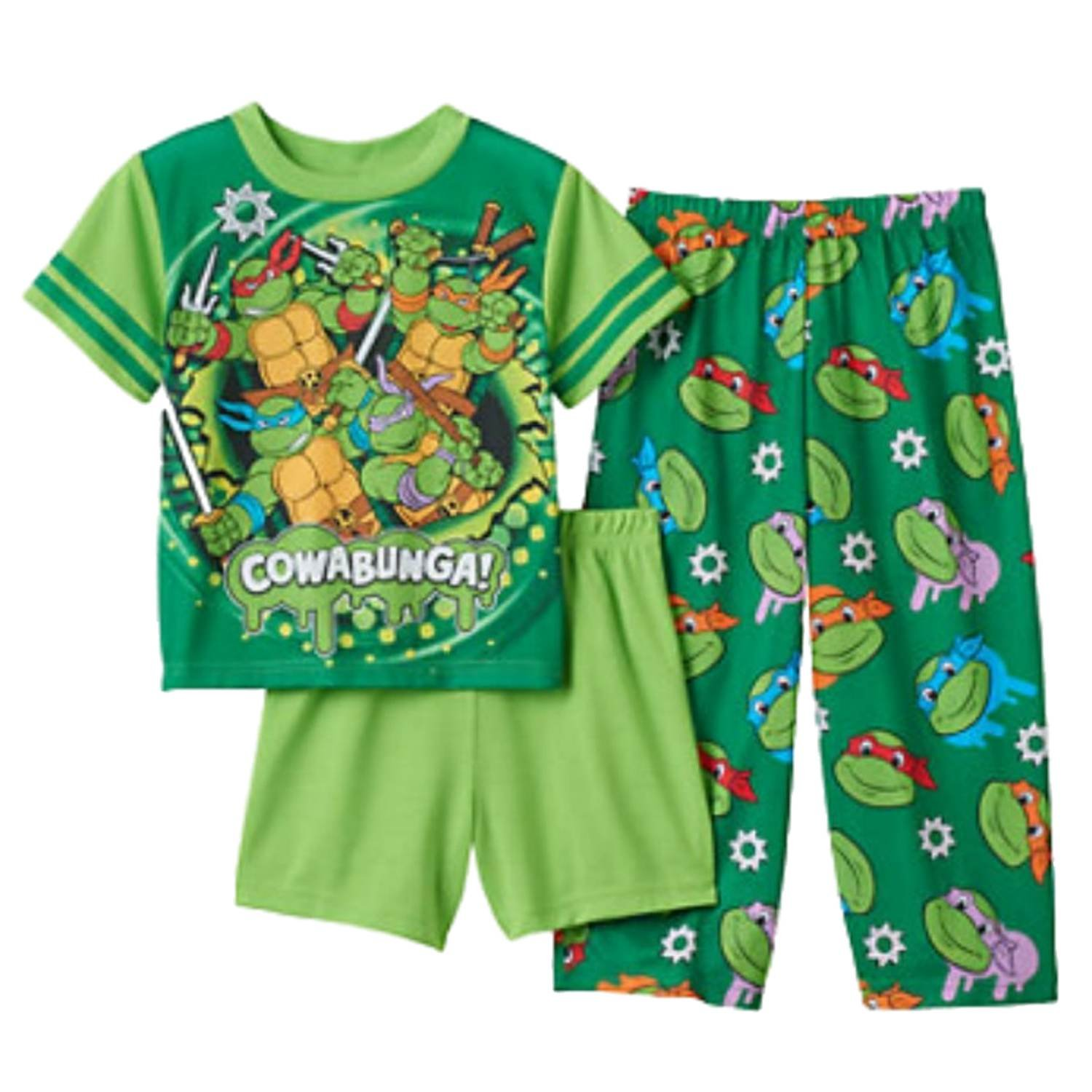 Teenage Mutant Ninja Turtles Toddler Boys Green Cowabunga 3-Piece Pajama Set