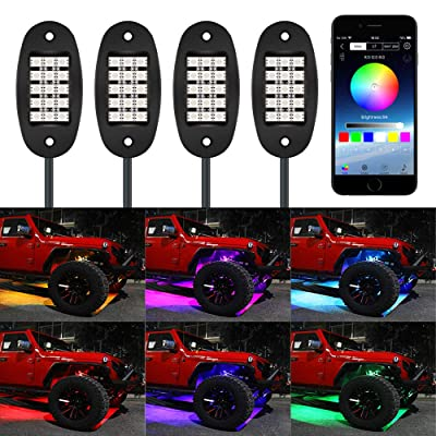 TACHICO RGB LED Rock Lights with APP/Double Remote Control,60 LEDs Multicolor Neon Underglow IP68 Flashing Music Timing Mode Light Kits for Jeep Off Road Truck ATV Motorcycle, DC 12V £¨4 Pods£: Automotive