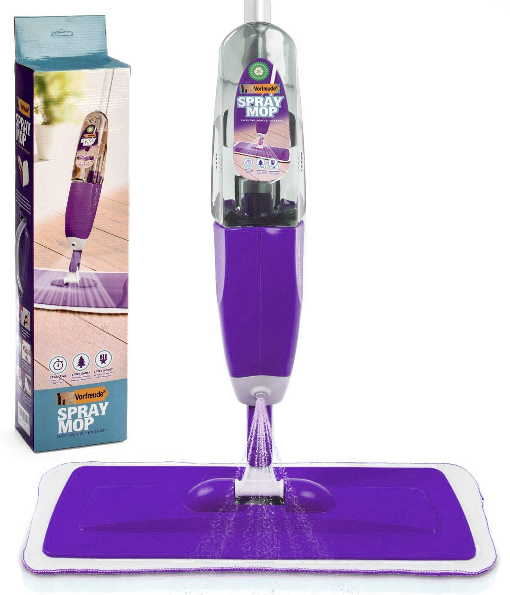 Vorfreude -Floor Spray Mop - Included Refillable 700Ml Capacity Bottle and Reusable Machine Washable Microfiber Pad
